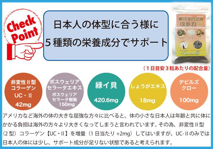 日本人の体型に合う様に5種類の成分を配合しています